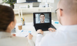 Video conference chat between two people